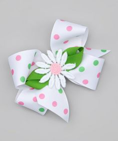 Take a look at this Green Daisy Bow Clip by Picture Perfect Hair Bows on #zulily today!