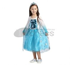 Girls Princess Costume Gown Dress Sparkly Cape with Pageant Tiara