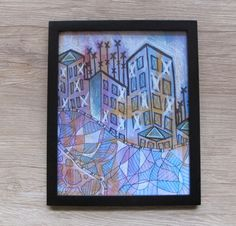 "8 x 10"" Framed Mixed Media Abstract Cityscape"