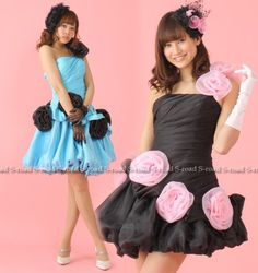 Amazon.co.jp: 巻きバラデコレーションバルーンカラーショートドレス ウエディングドレス: 服&ファッション小物通販