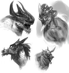 Minotaur Dragon & Rhino Heads - Pictures & Characters Art - God of War: Ascension