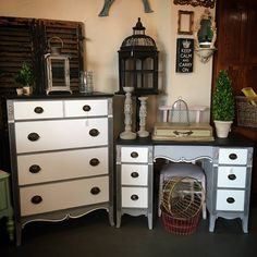 A monochrome pair!! Chalk Paint® by Annie Sloan in Paris Grey, Pure White, and Graphite.