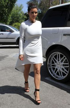 Kim Kardashian -Show legs in white in Sherman Oaks