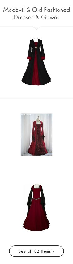 """""""Medevil & Old Fashioned Dresses & Gowns"""" by missspooky77 ❤ liked on Polyvore featuring dresses, medieval, medieval dresses, gowns, costumes, medieval times, red strappy dress, red shrug, red shrug cardigan and shrug cardigan"""