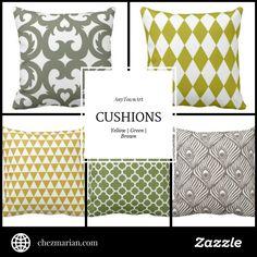 AnyTownArt Cushions | Yellow, Green & Brown