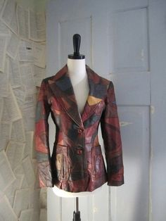 Early 70s Leather Patchwork Fitted Hippie Jacket