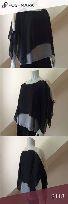 NWT Eileen Fisher Silk Blouse NWT Eileen Fisher Silk Blouse...layers of 100% sheer silk georgette...shoulders/sleeves are sheer...body is fully lined...dry clean only...generous fit could easily accommodate size Small. Retail $278 Eileen Fisher Tops Blouses