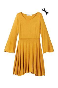 Million Polkadots Mustard Bell Sleeve Dress & Hairclip Set (Baby, Toddler, & Little Girls)