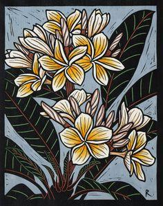 Frangipani II, Hand coloured linocut on handmade Japanese Paper, by Rachel Newling (Plumeria) Woodcut Art, Linocut Prints, Botanical Drawings, Botanical Art, Japanese Prints, Japanese Paper, Jungle Art, Linoprint, Australian Art