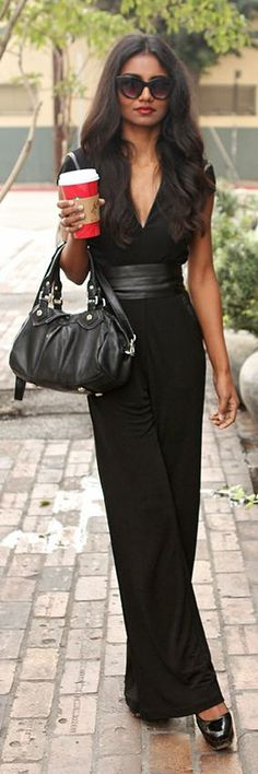 Chic In The City- Black Chic Jumpsuit by Tuolomee~ #LadyLuxuryDesigns v