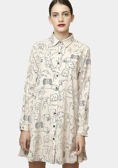 Off-white dog print dress Boutique Dresses, Fashion Boutique, Vintage Outfits, Vintage Fashion, Scottish Fashion, Striped Shirt Dress, Yellow Print, Sustainable Clothing, Printed Shirts