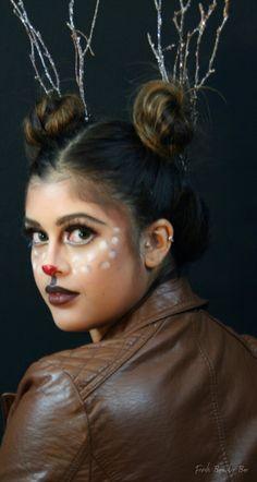 #rudolf #makeup #christmas #christmasmakeup #mua #rednosereindeer #reindeer #leatherjacket #contour #cute