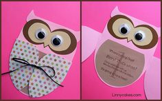 Owl Birthday Invitations from Linnycakes.com