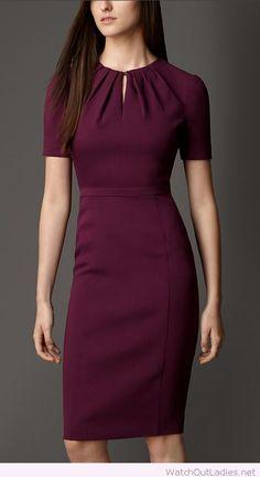 Office burgundy dress design