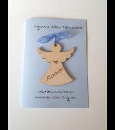 """Eine Karte zur Taufe an das Patenkind  Karte (hellblau) A 6, Kuvert und Einlageblatt in weiß  Auf der Karte ist der Text gedruckt: """"Meinem lieben Patenkind"""" - Möge dein Schutzengel immer bei..."""