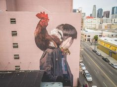 """Mr. Rooster"" wall mural by Etam Cru in Los Angeles. Sainer and Betz - what a winning combination for street art"