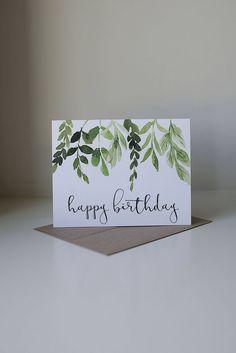 leaf sketch, by TinyDreamsDesigns on Etsy https://www.etsy.com/listing/560365367/happy-birthday-card-ivy-birthday-card