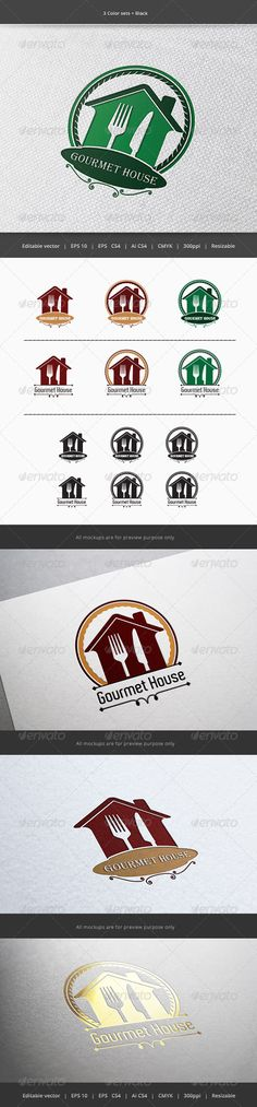 Gourmet House Restaurant Logo — Vector EPS #recipe #supply • Available here → https://graphicriver.net/item/gourmet-house-restaurant-logo/5899761?ref=pxcr