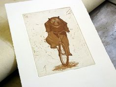 Bear on a Bike etching print by linocutboy on Etsy, Etching Prints, Linocut Prints, Card Making, Bike, Fine Art, Paper, Cards, Handmade, Printing