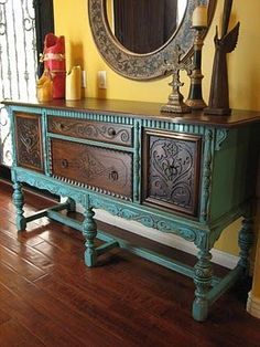 Combination of distressed paint and original stain makes the details of this vintage really stand out. This would be great to revive hand me downs or a thrift store find.