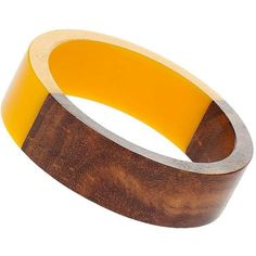 Dorothy Perkins Yellow Wooden Bangle ($14) ❤ liked on Polyvore featuring jewelry, bracelets, yellow, wood bangles, yellow bangle bracelet, wood bangle bracelet, wooden bangles and hinged bracelet