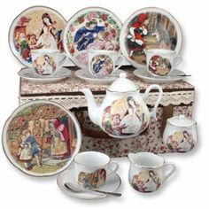 Our new Grimm Fairy Tales Tea Set features elaborate and detailed images from the traditional stories every child loves; Little Red Riding Hood, Snow White, Hansel & Gretel and Sleeping Beauty. All porcelain pieces are hand-decorated with real gold. The set is food & dishwasher safe. Set includes four 6