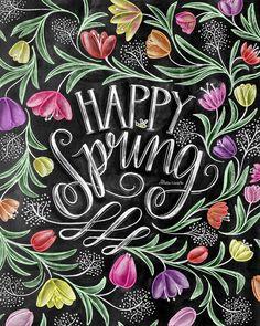 Spring Decor Spring Art Tulips Happy Spring Chalk by TheWhiteLime Blackboard Art, Chalkboard Lettering, Chalkboard Print, Chalkboard Designs, Chalkboard Drawings, Chalkboard Ideas, Lettering Art, Spring Sign, Spring Art