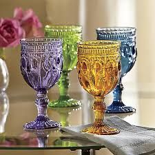 vintage colorful water goblets - Google Search