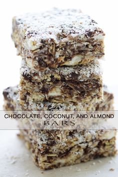 Chocolate Coconut and Almond Bars - You are really going to want to some of this. Think of it as granola bar meets rice krispie squares, but instead of the cereal it's granola. Cookie Desserts, Just Desserts, Cookie Recipes, Delicious Desserts, Dessert Recipes, Yummy Food, Brownies, Eat Dessert First, Dessert Bars