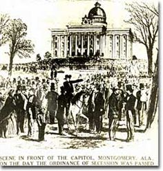 Crowds gathered in front of the Capitol building in Montgomery, Alabama, the day that the secession bill was passed.  (ILLUSTRATION:  Alabama Capitol, 1861)