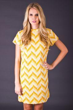 Adorable 60s style mini dress in lemon yellow.