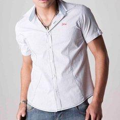 Camisa Manga Curta 110033 BRANCO/AZUL