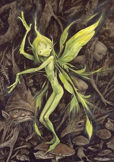 """A little sprite by Brian Froud. I love his fairies, goblins, gnomes, pixies, and sprites so much! His fantasy art has been some of my favorite since """"The Dark Crystal"""" and """"Labyrinth"""". Forest Creatures, Magical Creatures, Fantasy World, Fantasy Art, Brian Froud, Kobold, Nature Spirits, Illustration, Mythological Creatures"""