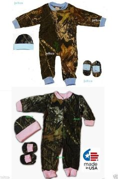 80baf36f94db2 Twins Boy Girl Mossy Oak Camo Outfits Infant / Baby Gift Set Creeper Hat  Booties (