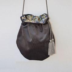 Velvet Pouch Grey Bag Handmade Bag Woman Bag by ARTonomousgr