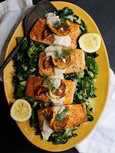 Seared Salmon over Dijon Chard and Leeks  #salmon, #healthydinners, #healthyrecipes, #cleaneating, #healthyeating, #leeks, #swisschard, #lowcarb