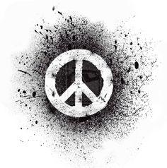 Spray painted peace symbol.