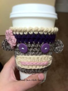 FREE Sock Monkey Cup Cozy from Frayed Knot | Check out patterns on Craftsy!