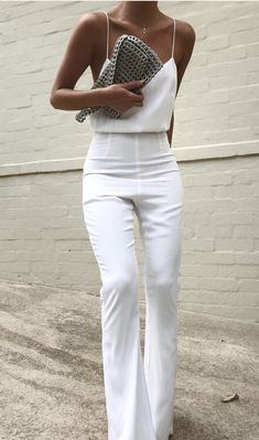all white outfit inspiration white silk camisole with high waisted white pants minimal formal outfits Fashion Mode, Look Fashion, Womens Fashion, Fashion Trends, White Fashion, Fashion Ideas, Fashion 2018, Cheap Fashion, Street Fashion