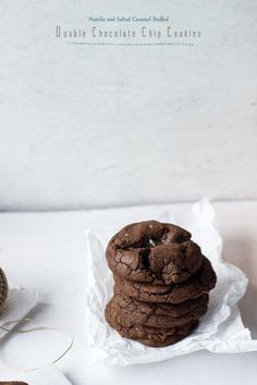 Nutella and Salted Caramel Stuffed Double Chocolate Chip Cookies