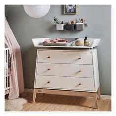 Pink Changing Mat for Chest of Drawers White Leander Design Baby White Oak, Grey Oak, Changing Unit, Dresser As Nightstand, Chest Of Drawers, Solid Oak, Space Saving, Baby Design, Storage Spaces