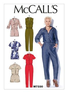 M7330 Misses' Button-Up Rompers and Jumpsuits Early  Spring  2016