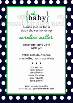 Navy and Green baby shower