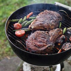 Bring a hint of Indian flavor to your next barbecue with this easy entertaining menu: Rib-eye steak, corn on the cob, and potato salad are enlivened with chiles, lime, and coconut.
