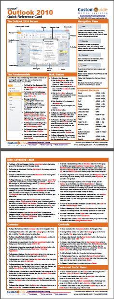 Free Outlook 2010 Cheat Sheet www.c… Free Outlook 2010 Cheat Sheet www. Computer Help, Computer Technology, Computer Programming, Computer Tips, Microsoft Windows, Microsoft Excel, Microsoft Office, Cheat Sheets, Office Hacks
