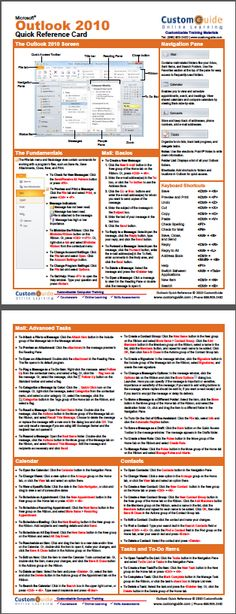 Free Outlook 2010 Quick Reference Card.  http://www.customguide.com/cheat_sheets/outlook-2010-cheat-sheet.pdf
