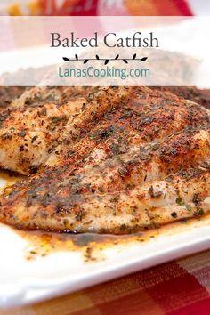 Baked Catfish Fillets, Baked Catfish Recipes, Grilled Catfish, Fish Dishes, Seafood Dishes, Seafood Recipes, Cajun Recipes, Ww Recipes, Salmon Recipes