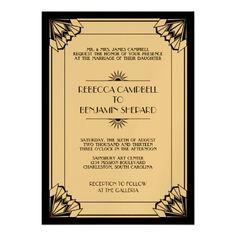 black geometric art deco wedding custom invites