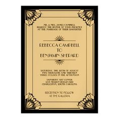 black geometric art deco wedding custom invites