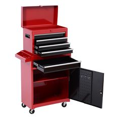HomCom Rolling Tool Cabinet Chest with 5 Drawers and Removable Tool Box - Red - Tools - Tool Storage - Tool Chest Combos